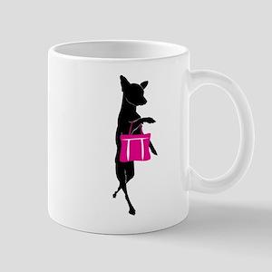 Silhouette of Chihuahua Going Shopping Mug