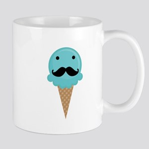 Blue Waffle Cone Mustache Face Small Mug