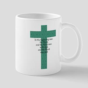 John 1:1 Cross green Mugs