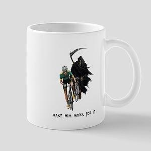 Grim Reaper Chasing Cyclist Mug