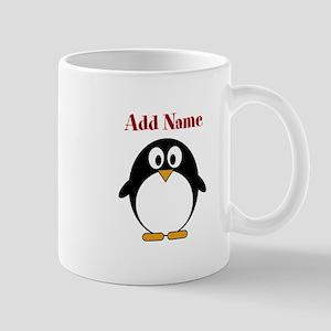 Modern Penguin Add Name Mugs