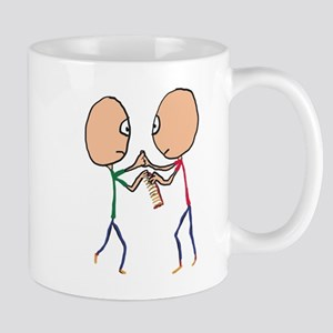 Two bald men fighting over a comb Mugs