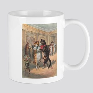 Cats Dancing, Vintage Art Mug