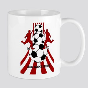 Personalized Red White Soccer Mug