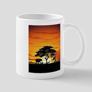 Wild Animals on African Savannah Sunset Mug