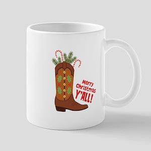 Western Cowboy Boot Merry Christmas Slang Mugs