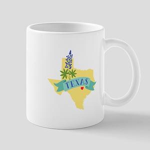 Texas State Outline Bluebonnet Flower Mugs