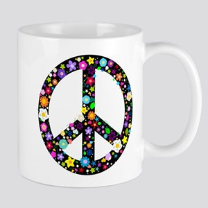 Hippie Flowery Peace Sign Mug