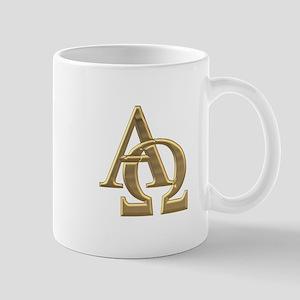 """""""3-D"""" Golden Alpha and Omega Symbol Mug"""