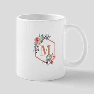 Chic Floral Wreath Monogram Mugs