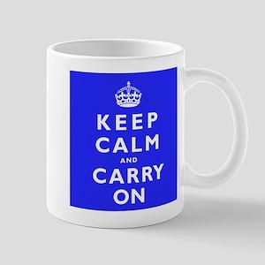 KEEP CALM and CARRY ON blue Mug