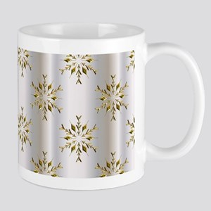 Gold Christmas Stars on Silver Mugs