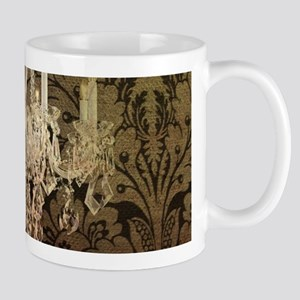 steampunk damask vintage chandelier Mugs