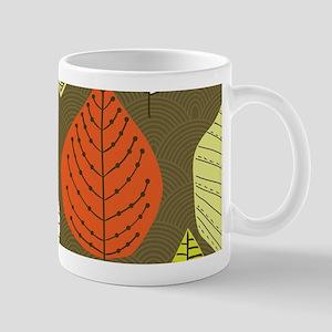 Leaves on Green Mid Century Modern Mugs