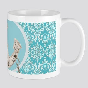 turquoise damask nautical anchor Mugs