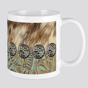 cow hide western leather Mugs