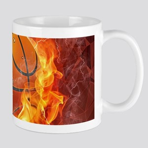 Flaming Basketball Ball Splash Mugs