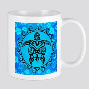 Black Tribal Turtle And Flower Pattern Mugs