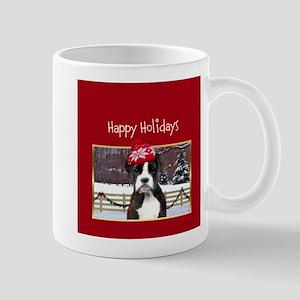 Happy Holidays Boxer Dog Mugs