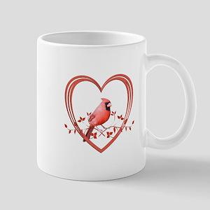 Cardinal in Heart Mug