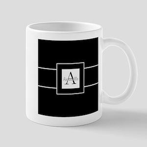 Black White Monogram Personalized Mugs