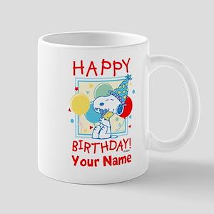 Peanuts Happy Birthday Red Personalized Mug