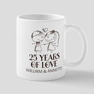 25th Wedding Anniversary Personalized Mugs