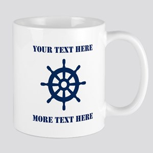Custom Nautical Ship Wheel Coffee Mugs For Sailor