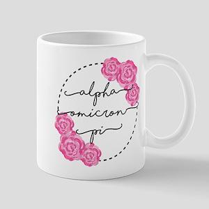 Alpha Omicron Pi Floral 11 oz Ceramic Mug