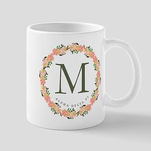 Alpha Delta Pi Floral Monogram 11 oz Ceramic Mug