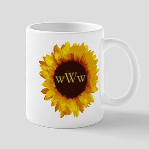 Sunflower Monogram 11 oz Ceramic Mug