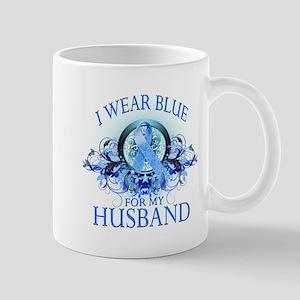 I Wear Blue for my Husband (floral) Mug