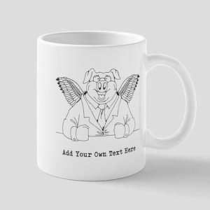 Flying Pig in Suit. Custom. Mug