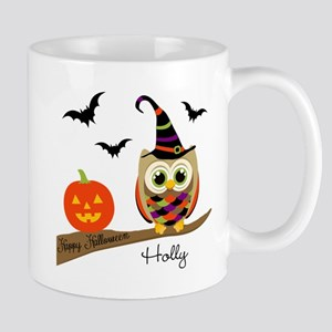 Custom name Halloween owl Mug