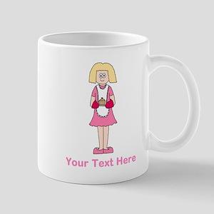 Lady with Dish. Custom Text. Mug