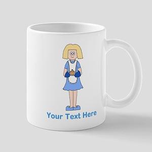 Lady with Dish. Blue Text. Mug