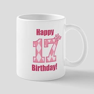 Happy 17th Birthday - Pink Argyle Mug