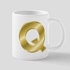 Gold Letter Q Mugs