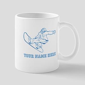 Custom Blue Snowboard Grab Mugs