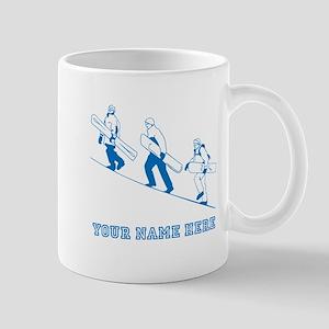 Custom Blue Snowboarders Mugs