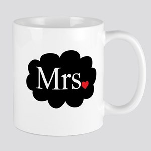 Mrs with heart dot on cloud (Mr and Mrs set) Mugs