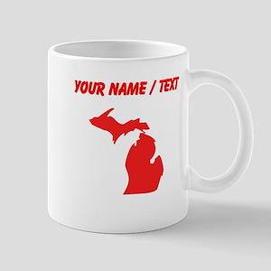 Custom Red Michigan Silhouette Mugs