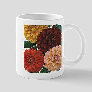 modern vintage fall dahlia flowers Mugs