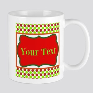 Personalizable Red and Green Polka Dots Mugs