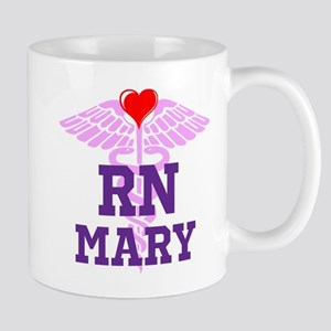 RN Pink Caduceus with purple letters Mugs