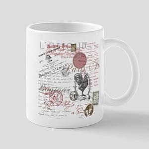 Vintage French Handwriting Paris Rooster Mugs
