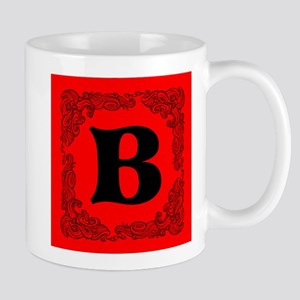 Red Personalized Monogram Initial Mugs