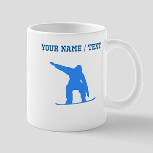 Custom Blue Snowboarder Mugs