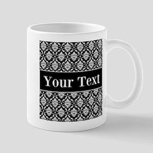 Personalizable Black White Damask Mugs
