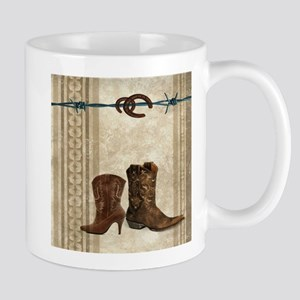horseshoe western cowboy boots Mugs